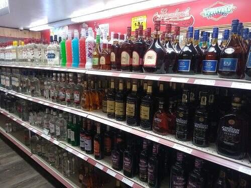 products on shelf at osakis liquor store